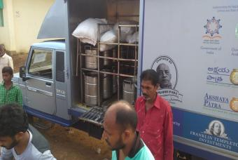 Akshaya Patra meal distribution vehicle arrived at distribution centre