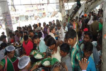 About 10,000 people received Akshaya Patra meals