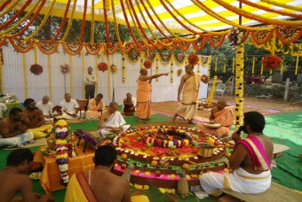 The Bhoomi Puja being conducted
